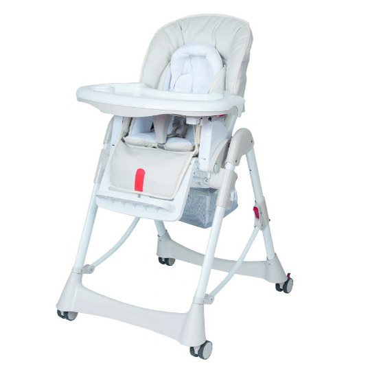 Steelcraft Messina DLX Hi Lo High Chair Dove with 5 point harness, padded insert, head snuggler, shoulder pads, padded seat, removable tray & 4 wheels