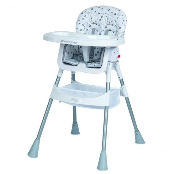 Steelcraft Snack Time Convertible High Chair White with 5 point safety harness, removable tray & legs