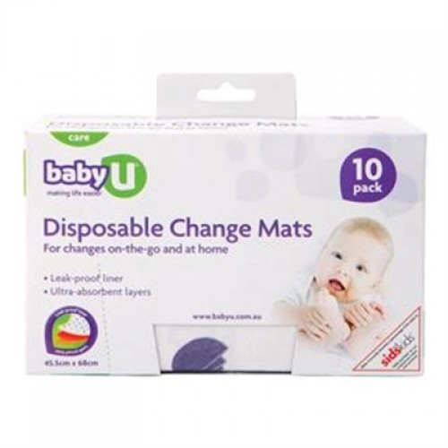 Pack of 10 Baby U Disposable Change Mats