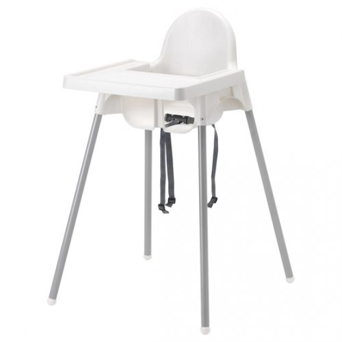 White/Silver IKEA ANTILOP Highchair w/ Tray & Safety Belt