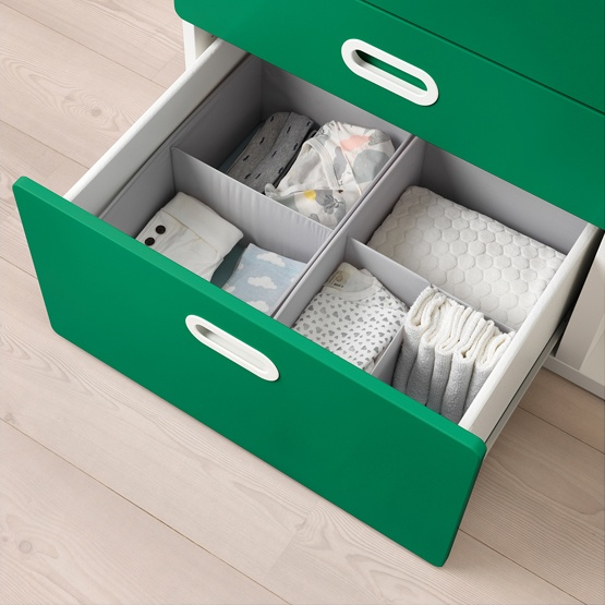 1585bbcf0917 IKEA STUVA Changing Table w/ FRITIDS Drawers with baby cloths neatly piled  inside