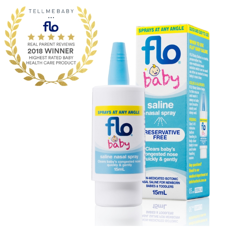 The top baby health care product 2018 is Flo Baby Saline Nasal Spray in the Tell Me Baby 2018 Awards for best baby products