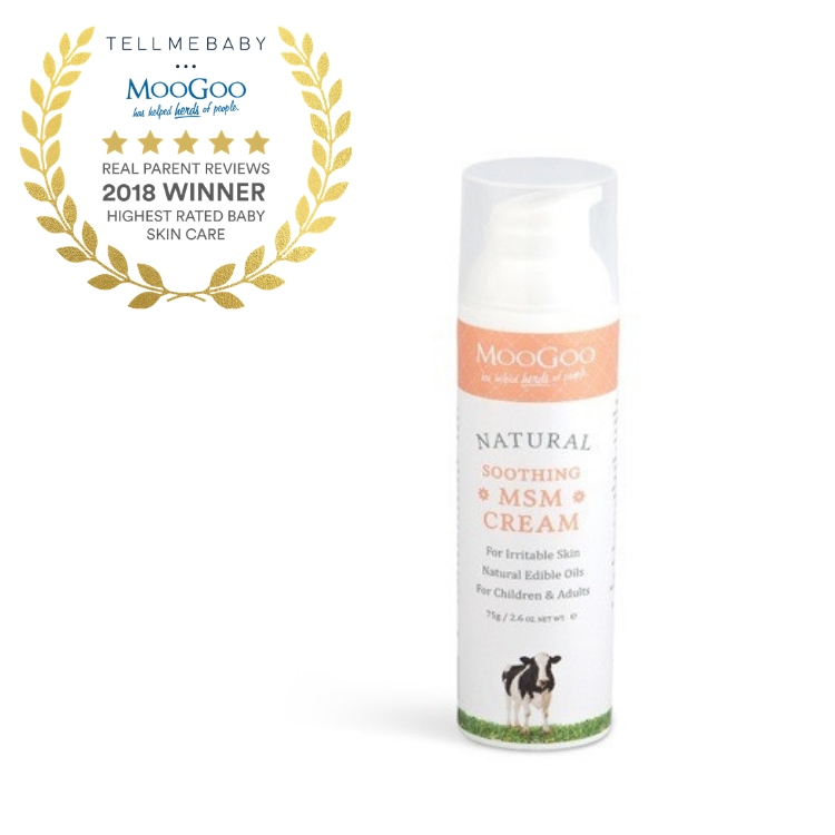 The top baby skin care 2018 is the MooGoo Soothing MSM Cream in the Tell Me Baby 2018 Awards for best baby products