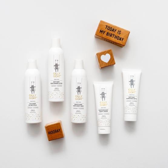 "Gilly Goat Skincare Products with ""Today is my birthday"", Heart, ""Hooray"" Wooden Blocks"