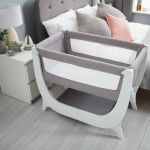 Dove Grey Shnuggle Air Bedside Crib on the bedroom
